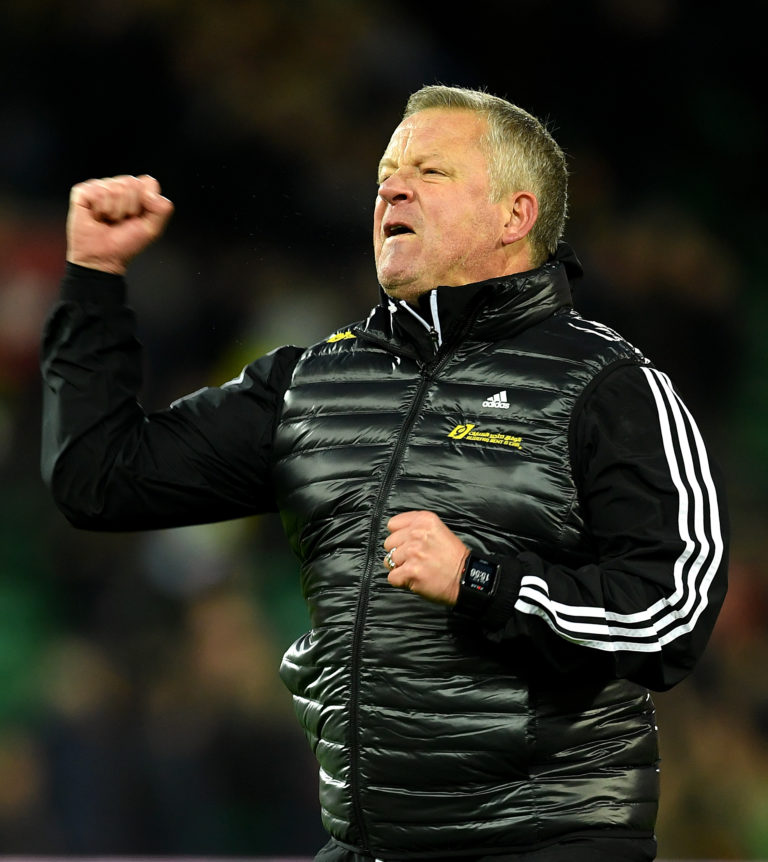 Sheffield United manager Chris Wilder celebrates victory