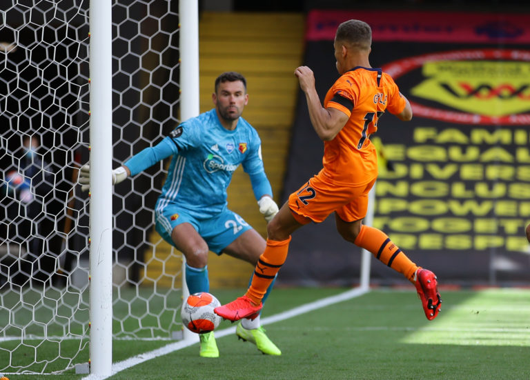 Newcastle's Dwight Gayle scores the opening goal