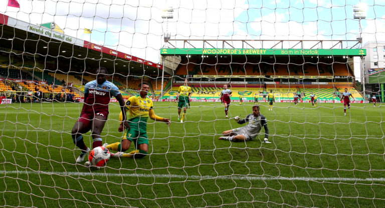 Michail Antonio, left, helped himself to four goals at Carrow Road