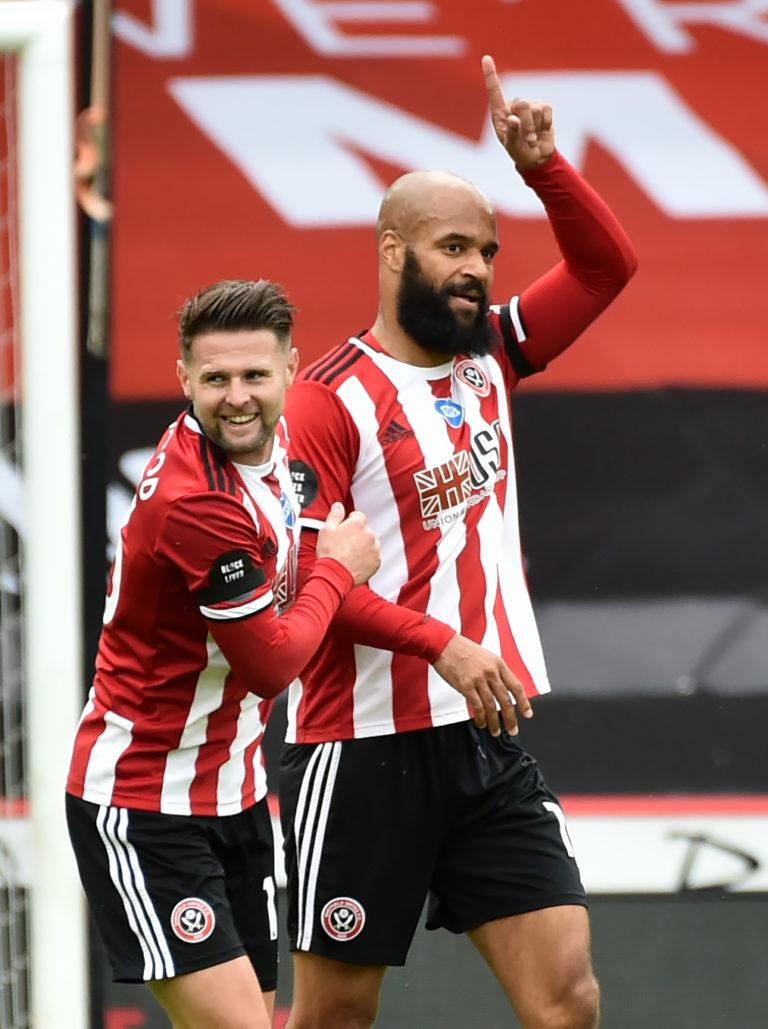 David McGoldrick celebrates his first league goal of the season