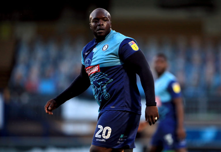Wycombe's Adebayo Akinfenwa was sent off the last time the sides met