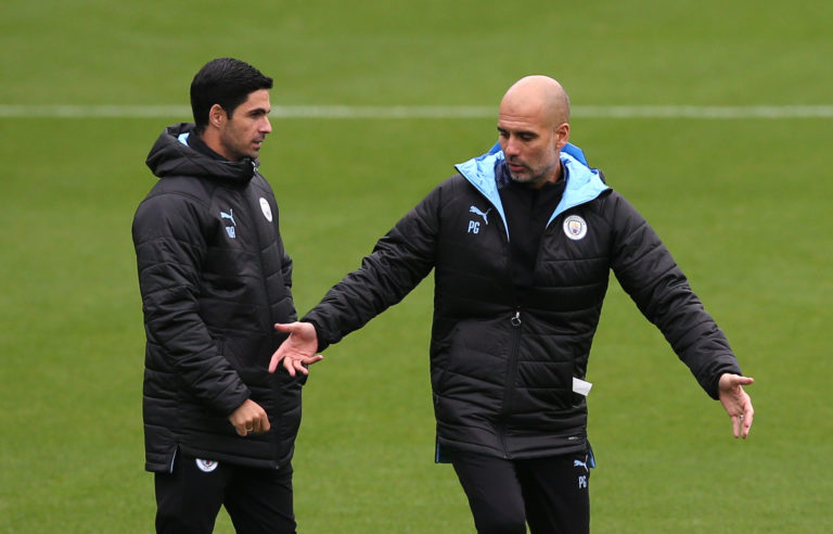 Mikel Arteta, left, worked with Pep Guardiola at Manchester City