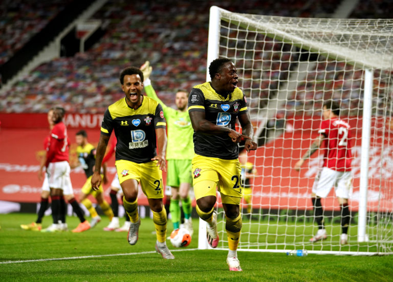 Michael Obafemi celebrates Southampton's late leveller at Old Trafford
