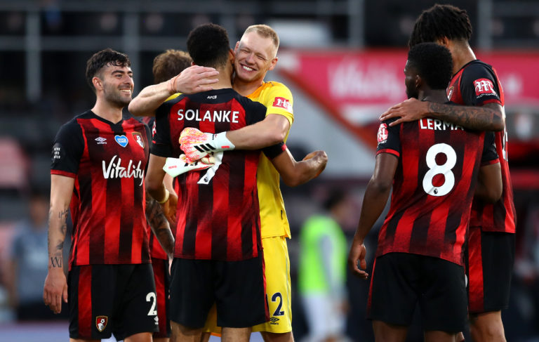 Bournemouth celebrate during a shock 4-1 win against Leicester