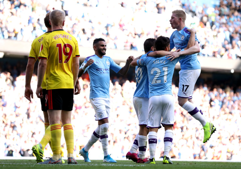 Manchester City celebrate Bernardo Silva's second goal and their sixth against Watford
