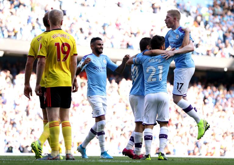 Manchester City celebrate Bernardo Silva's second goal and their sixth against Watford