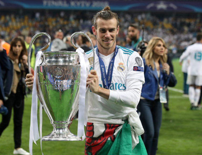 Gareth Bale celebrates winning his fourth Champions League in 2018