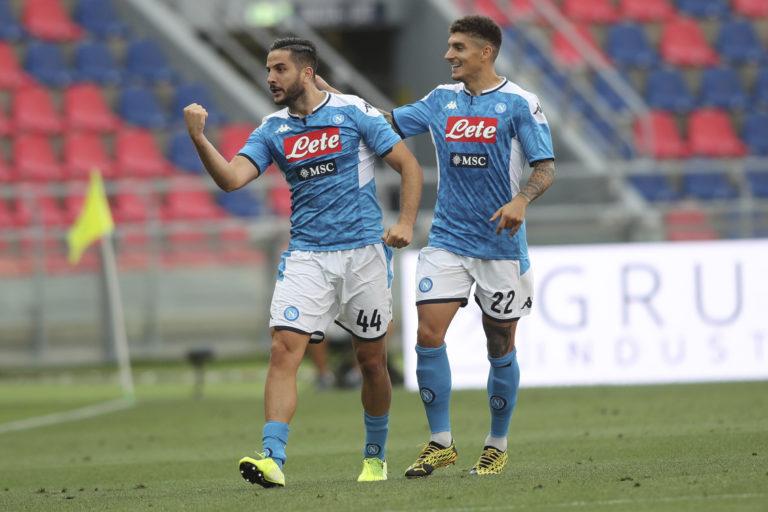 Kostas Manolas, left, put Napoli ahead against Bologna