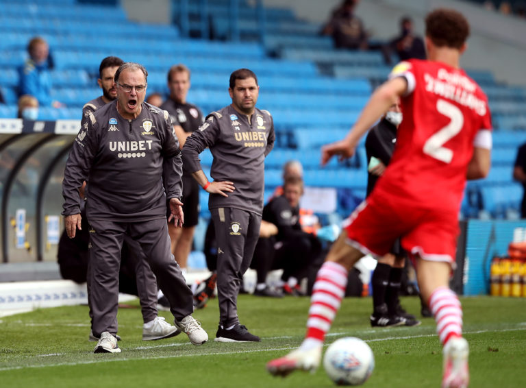 Leeds manager Marcelo Bielsa watches on from the sideline