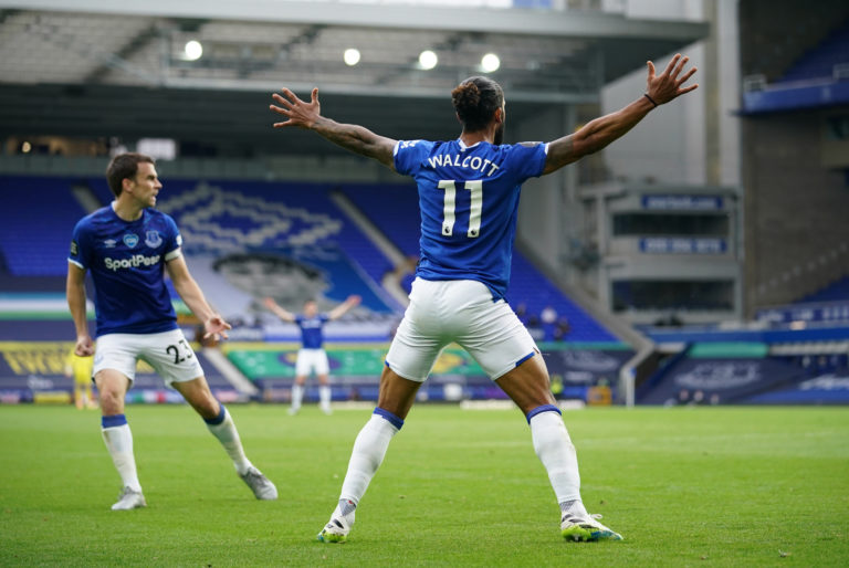 Everton's Theo Walcott celebrates scoring at the death
