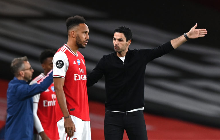 Mikel Arteta, right, believes patience will be required when the process of fans returning to football grounds begins