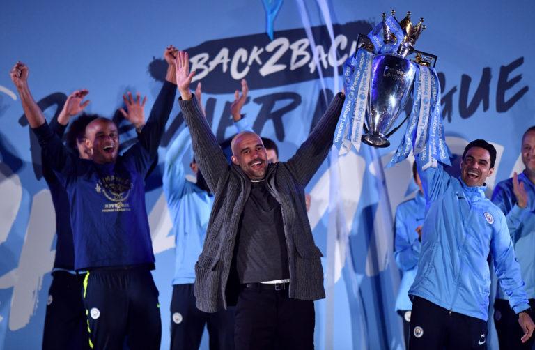 Pep Guardiola, centre, has won six major trophies with Manchester City