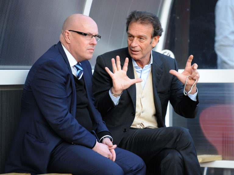 Manager Brian McDermott, left, with owner Massimo Cellino
