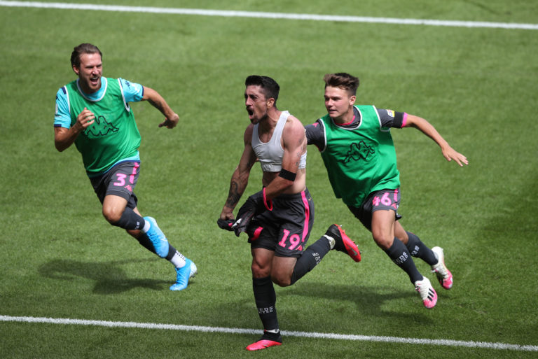 Hernandez, centre, celebrates his crucial recent match-winner at Swansea