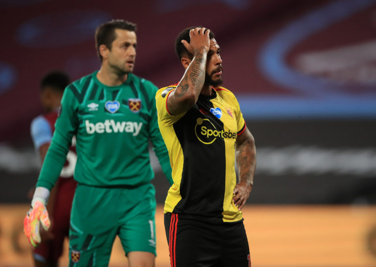 Andre Gray reacts after a missed chance