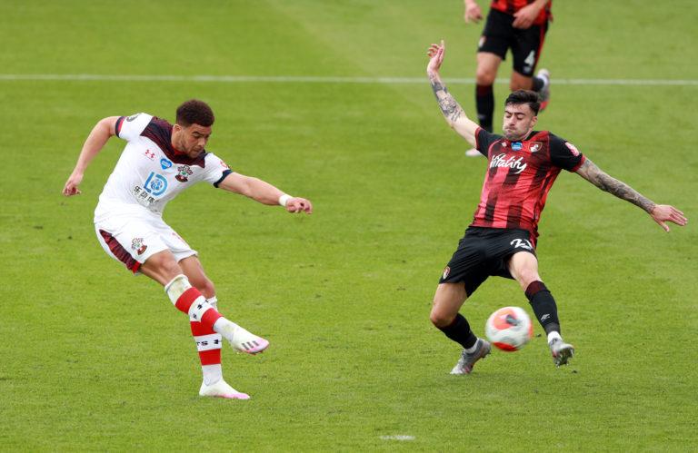 Che Adams, left, scores Southampton's second goal