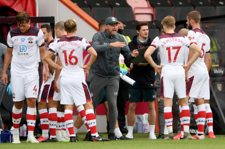 Ralph Hasenhuttl, centre, gives instructions to his Southampton side