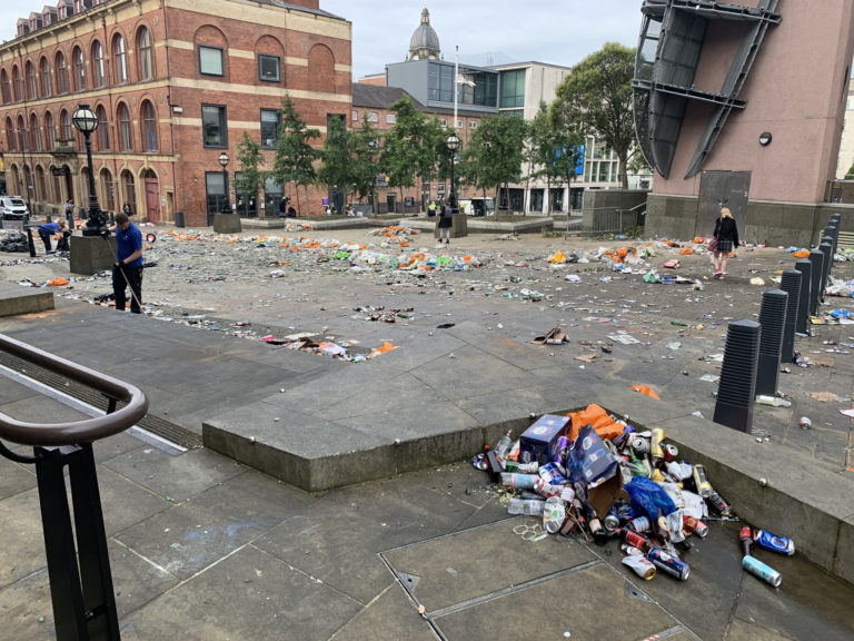 Litter in Millennium Square in Leeds after celebrations by fans whose football club won the Championship title and a return to the Premier League