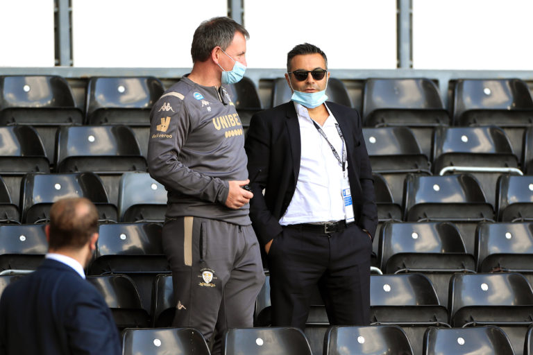 Andrea Radrizzani, right, took a flight to Europe after watching Leeds win at Derby
