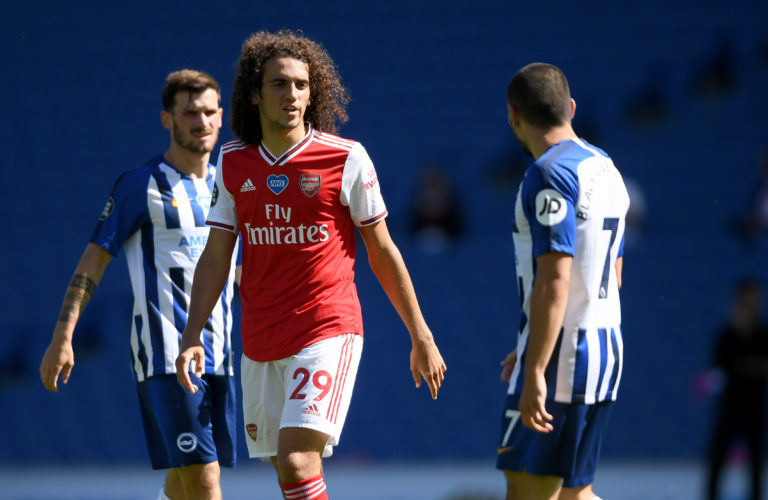 Matteo Guendouzi (left) has not played for Arsenal since a full-time bust-up following the defeat at Brighton.