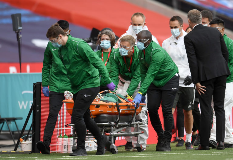 Eric Bailly was taken away on a stretcher on Sunday