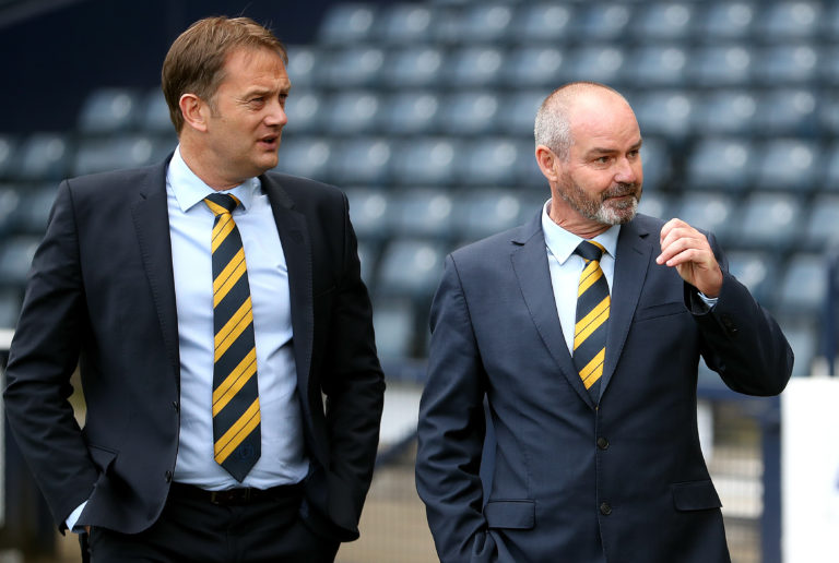 Ian Maxwell, left, with Scotland manager Steve Clarke