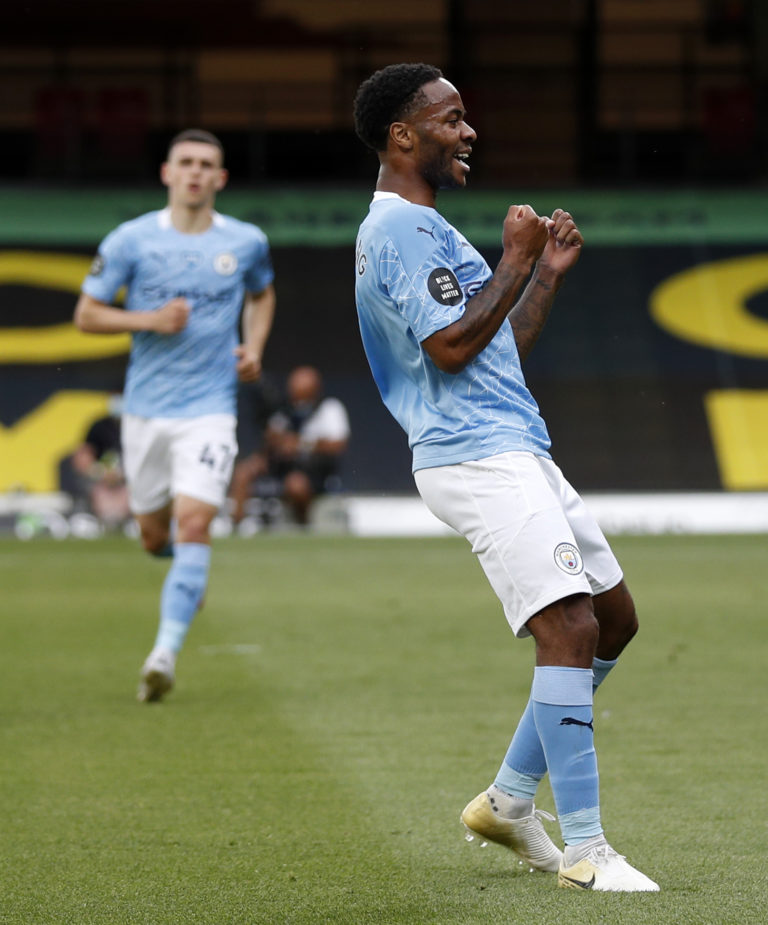 Raheem Sterling scored his 28th and 29th goals of the season for Manchester City in the victory at Watford