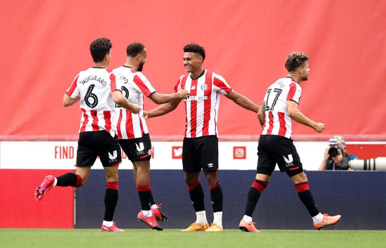 Brentford's Ollie Watkins (second right) has scored 25 league goals this season (Tim Goode/PA).