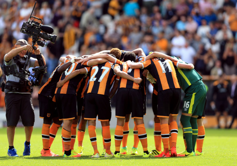 Hull players celebrate after beating champions Leicester on the opening day of the 2016/17 season
