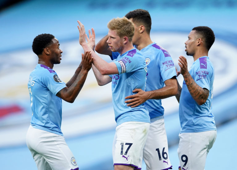 Manchester City's Kevin De Bruyne (centre) has enjoyed a magnificent season