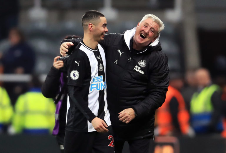 Newcastle manager Steve Bruce, right, shares a joke with Miguel Almiron after the player ended his Premier League drought against Crystal Palace in December. Paraguay international Almiron, a GBP 21million signing from MLS club Atlanta United, had gone 26 top-flight games without a goal before sparking wild celebrations at St James' Park by earning a 1-0 win over the Eagles