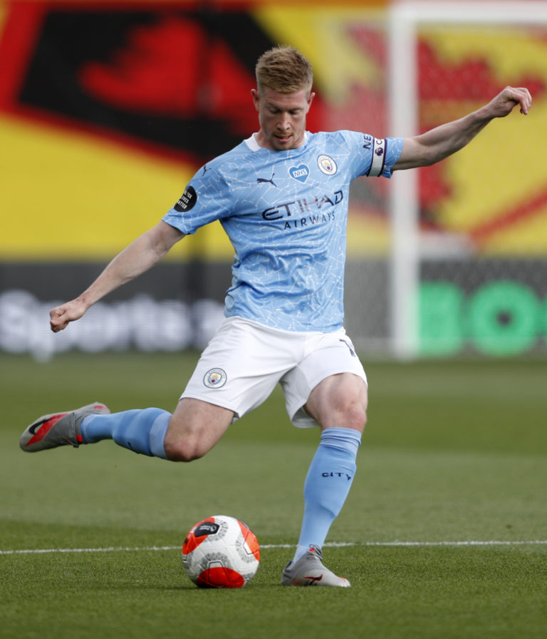 Kevin De Bruyne is bidding to match the Premier League record of 20 assists