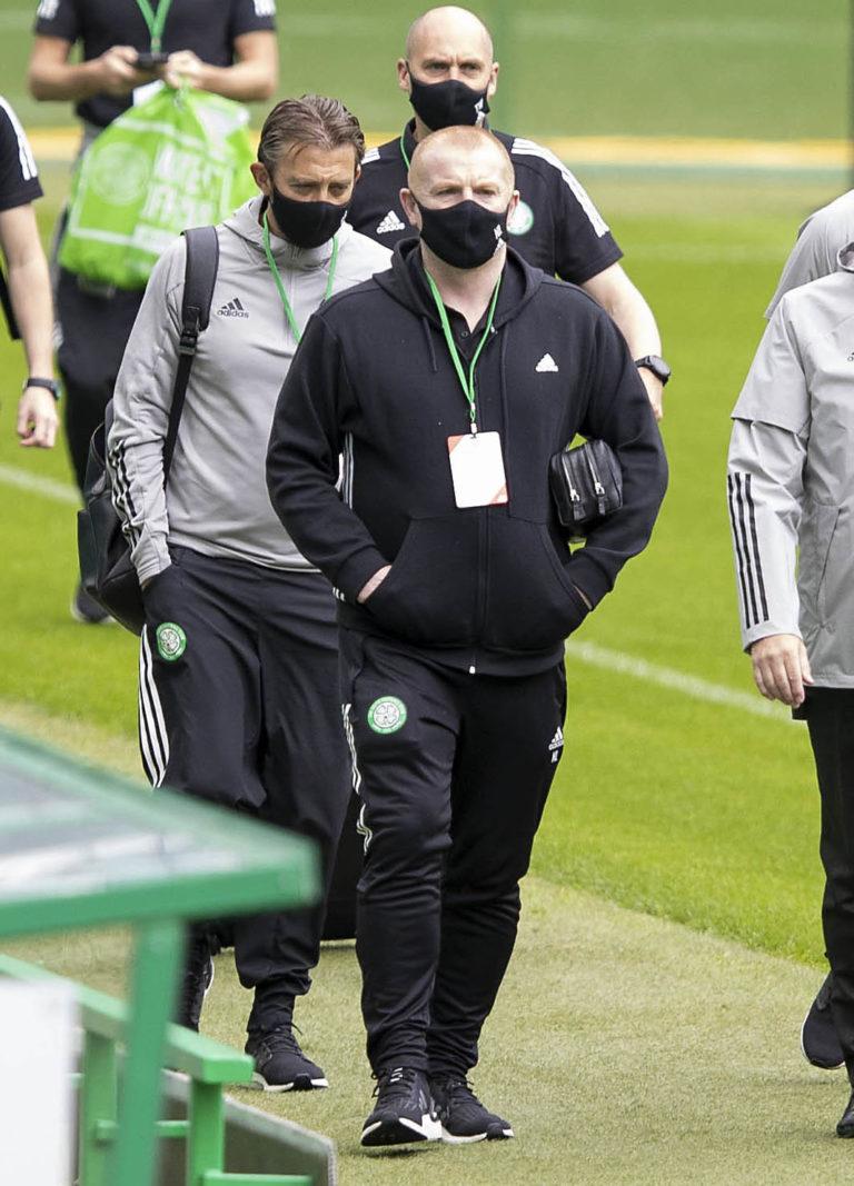 Neil Lennon arrives ahead of the pre-season friendly