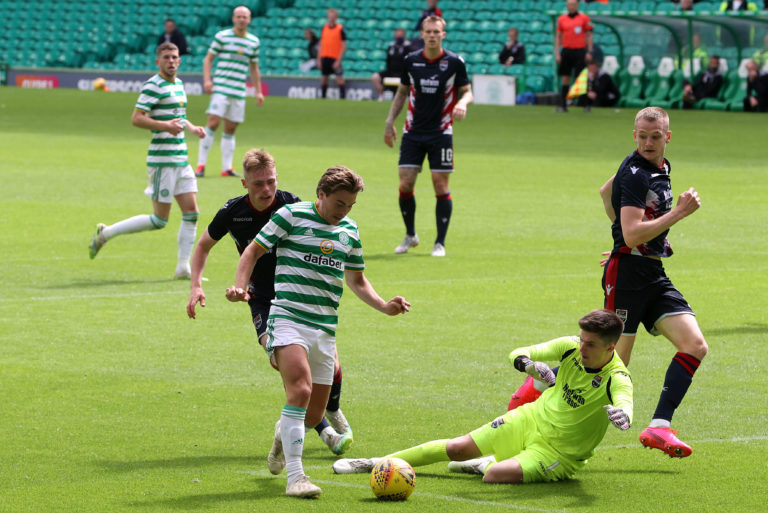 Ross Doohan saves from team-mate James Forrest