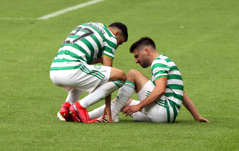 Celtic's Greg Taylor failed to run off a knock