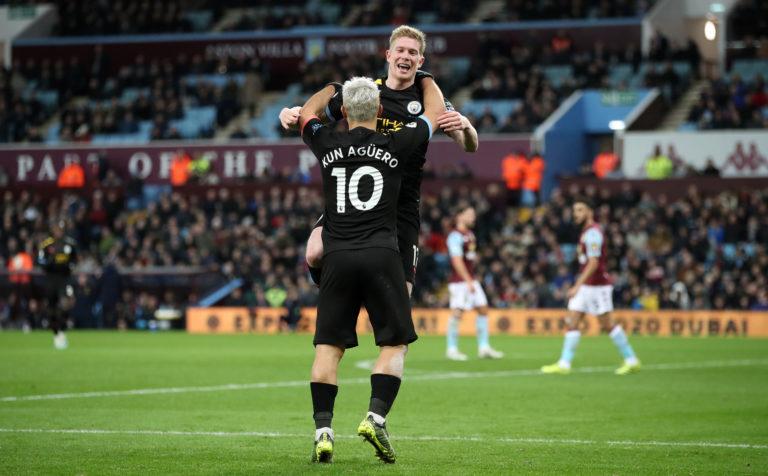 De Bruyne set up goals for Aguero and Jesus as City hammered Aston Villa