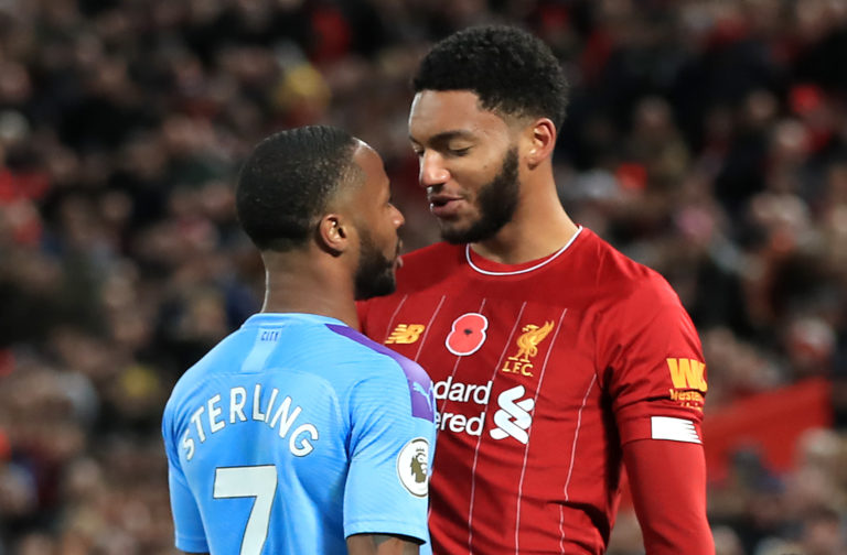 Manchester City forward Raheem Sterling and Liverpool defender Joe Gomez clash at Anfield. Sterling admitted 'emotions got the better' of him following the altercation with England team-mate Gomez during City's 3-1 defeat. The incident cost Sterling a place in Gareth Southgate's squad for a Euro 2020 qualifier against Montenegro