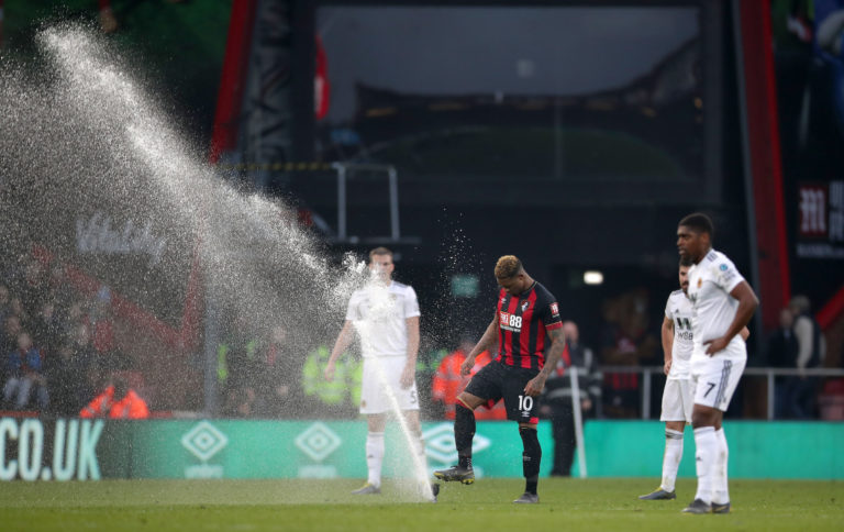 Jordon Ibe takes matters into this own hands after Bournemouth's home defeat to Wolves is briefly interrupted by a sprinkler malfunction. Winger Ibe left the Vitality Stadium before the end of the prolonged season having managed just five Premier League goals following a GBP 16million move from Liverpool in 2016