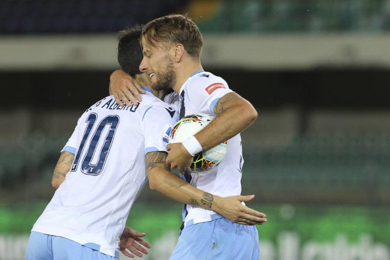 Ciro Immobile, right, scored a hat-trick for Lazio