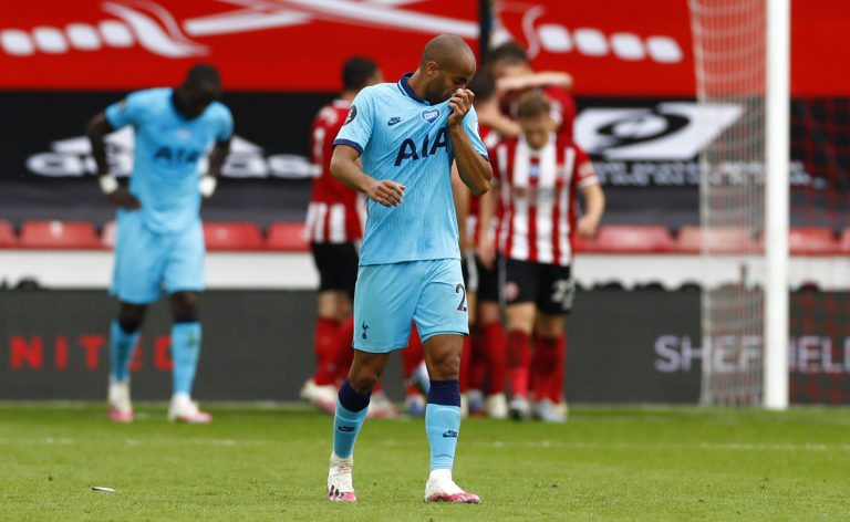 An unintentional handball by Tottenham's Lucas Moura against Sheffield United led to a goal by Harry Kane being disallowed